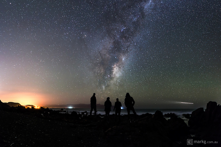 5th stop as part of the International Dark Sky Week photo project at Red Rocks. After a 10 minute ride in the 4WD out towards Red Rocks, we all emerged from the car in awe of just what we could see in the night sky. The Milky Way was clearly visible and towering above us. There was still a glow from the lights of Wellington city in the distance, but this was by far the best of the star gazing spots.