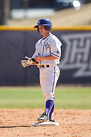 Hunter Lee (2) of the High Point Panthers stands on second base after hitting a double against the LIU-Brooklyn Blackbirds at Willard Stadium on March 8, 2015 in High Point, North Carolina.  The Panthers defeated the Blackbirds 9-0.  (Brian Westerholt/Four Seam Images)