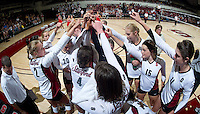 STANFORD, CA - September 2: Stanford huddle during a volleyball match against UC Irvine, September 2, 2010 in Stanford, California. Stanford won 3-0.