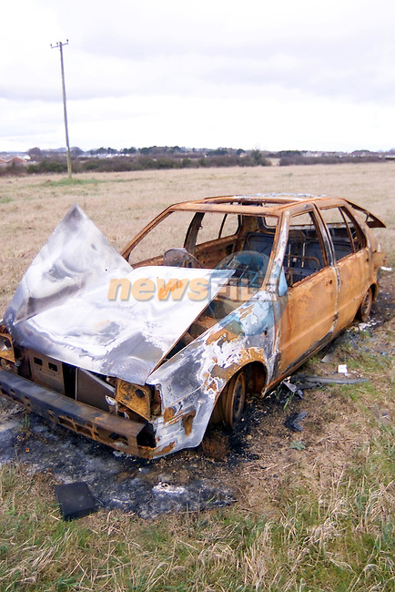 Burned out cars  in the fields beside hazel lane..Picture Fran Caffrey Newsfile.