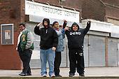 Boys waiting outside the community centre on Home Housing's Rayners Lane Estate, Harrow.