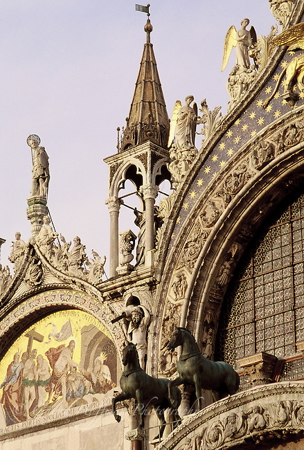 Italy; Venice; St. Mark's Basilica, exterior, statues on roofline.