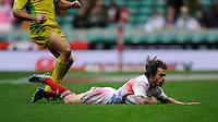 Terry Bouhraoua of France scores a try during the iRB Marriott London Sevens at Twickenham on Saturday 11th May 2013 (Photo by Rob Munro)