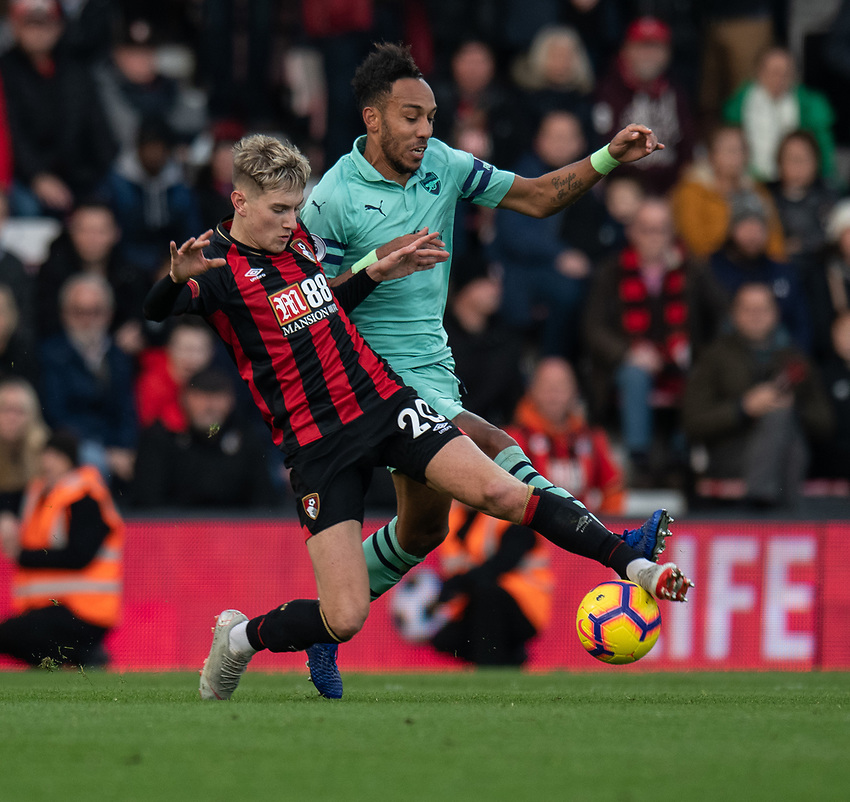 Bournemouth's David Brooks (left) battles with Arsenal's Pierre-Emerick Aubameyang (right) <br /> <br /> Photographer David Horton/CameraSport<br /> <br /> The Premier League - Bournemouth v Arsenal - Sunday 25th November 2018 - Vitality Stadium - Bournemouth<br /> <br /> World Copyright © 2018 CameraSport. All rights reserved. 43 Linden Ave. Countesthorpe. Leicester. England. LE8 5PG - Tel: +44 (0) 116 277 4147 - admin@camerasport.com - www.camerasport.com