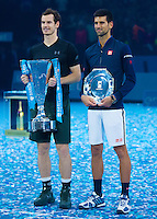 Andy Murray (GBR) and Novak Djokovic (SBR) pose for Photographers after the ATP World Tour Final, ATP World Tour Finals 2016, Day Eight, O2 Arena, Peninsula Square, London, United Kingdom, 20th Nov 2016
