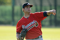 Pitcher Sean Bierman (33) of the Atlanta Braves farm system in a Minor League Spring Training workout on Tuesday, March 17, 2015, at the ESPN Wide World of Sports Complex in Lake Buena Vista, Florida. (Tom Priddy/Four Seam Images)