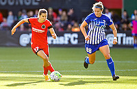 Portland, Oregon - Sunday September 4, 2016: Portland Thorns FC midfielder Tobin Heath (17) and Boston Breakers forward Kathryn Schoepfer (88) during a regular season National Women's Soccer League (NWSL) match at Providence Park.