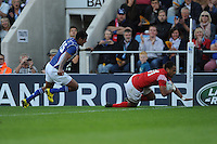 Telusa Veainu of Tonga scores a try during Match 20 of the Rugby World Cup 2015 between Tonga and Namibia - 29/09/2015 - Sandy Park, Exeter<br /> Mandatory Credit: Rob Munro/Stewart Communications