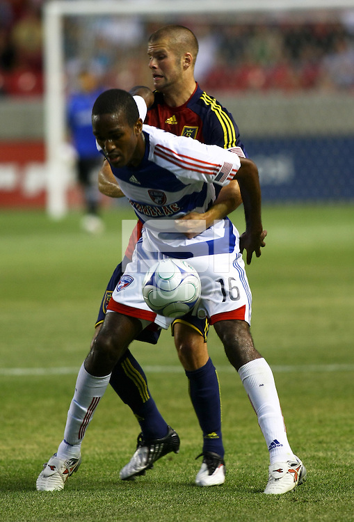 Attiba Harris and Chris Wingert in the FC Dallas @ Real Salt Lake 2-4 RSL win at Rio Tinto Stadium in Sandy, Utah on July 24, 2009