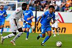 07.10.2018, wirsol Rhein-Neckar-Arena, Sinsheim, GER, 1 FBL, TSG 1899 Hoffenheim vs Eintracht Frankfurt, <br /><br />DFL REGULATIONS PROHIBIT ANY USE OF PHOTOGRAPHS AS IMAGE SEQUENCES AND/OR QUASI-VIDEO.<br /><br />im Bild: Reiss Nelson (TSG Hoffenheim #9), Danny da Costa (Eintracht Frankfurt #24)<br /><br />Foto &copy; nordphoto / Fabisch