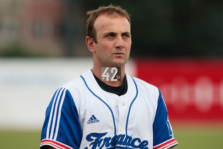 19 August 2010: Jean-Michel Mayeur of Team France stands during the national anthem prior to France 7-6 win over Slovakia, at the 2010 European Championship, under 21, in Brno, Czech Republic.