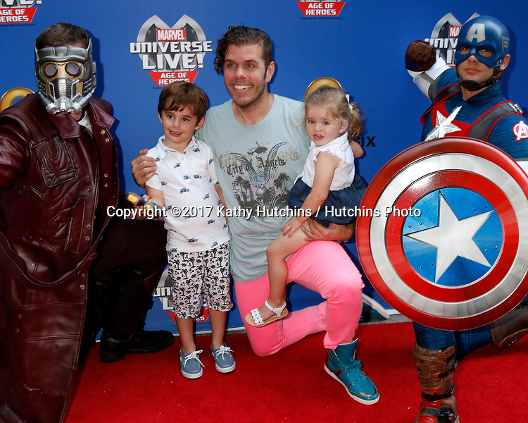 LOS ANGELES - JUL 8:  Star-Lord, Mario Lavandeira, Perez Hilton, Mia Lavandeira, Captain America at the Marvel Universe Live Red Carpet at the Staples Center on July 8, 2017 in Los Angeles, CA