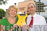 Martin O'Brien Southern Safety presents Noreen O'Sullivan Killarney Outlet Centre a life saving defibillator for use in the Outlet Centre