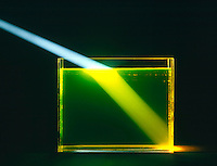 REFRACTION of LIGHT by WATER in GLASS TANK (2 of 2)<br /> Light Strikes At An Angle Other Than 90'<br /> Light strikes fluorescine tinted water at angle other than 90'.