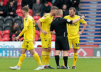 Fleetwood Town's James Wallace argues with Referee John Busby<br /> <br /> Photographer David Shipman/CameraSport<br /> <br /> The EFL Sky Bet League One - Doncaster Rovers v Fleetwood Town - Saturday 6th October 2018 - Keepmoat Stadium - Doncaster<br /> <br /> World Copyright &copy; 2018 CameraSport. All rights reserved. 43 Linden Ave. Countesthorpe. Leicester. England. LE8 5PG - Tel: +44 (0) 116 277 4147 - admin@camerasport.com - www.camerasport.com