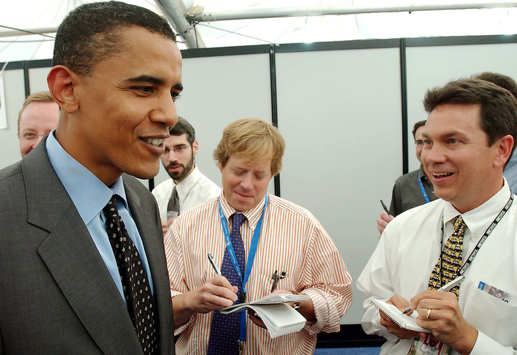 7/26/04.BARACK OBAMA/DEMOCRATIC NATIONAL CONVENTION--Convention keynote speaker Barack Obama, currently an Illinois state senator and the Democratic nominee for the U.S. Senate, visits with reporters in the press pavilion..CONGRESSIONAL QUARTERLY PHOTO BY EVAN SISLEY