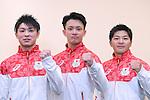 (L-R) Kohei Uchimura, Yusuke Tanaka, Koji Yamamuro (JPN), <br /> JULY 19, 2016 - Artistic Gymnastics : <br /> Japan Men's Artistic Gymnastics national team send-off press conference <br /> for the Rio 2016 Olympic Games in Tokyo, Japan. <br /> (Photo by AFLO SPORT)
