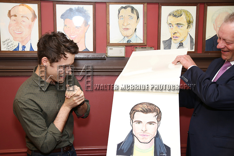 Corey Cott and Max Klimavicius during the Corey Cott Sardi's Portrait unveiling at Sardi's Restaurant on August 11, 2017 in New York City.