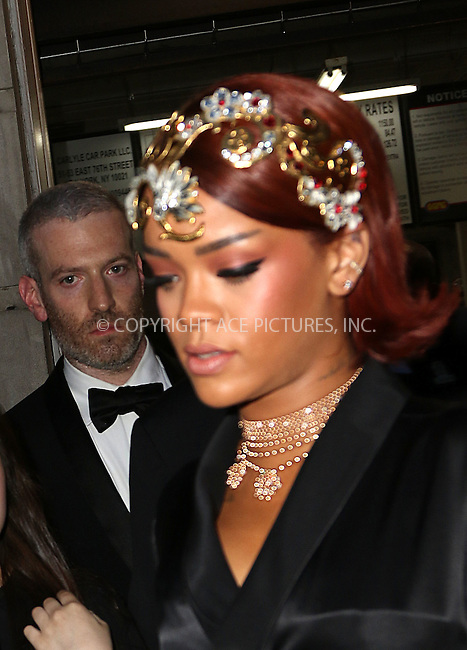 WWW.ACEPIXS.COM<br /> <br /> May 4 2015, New York City<br /> <br /> Rihanna leaving the Carlyle Hotel on the way to the Met Gala on May 4 2015 in New York City<br /> <br /> By Line: Zelig Shaul/ACE Pictures<br /> <br /> <br /> ACE Pictures, Inc.<br /> tel: 646 769 0430<br /> Email: info@acepixs.com<br /> www.acepixs.com