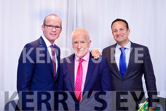 Fine Gael holding a celebration for Jimmy Deenihan at the Rose Hotel on Friday. Pictured Minister for Foreign Affairs and Trade and Deputy Leader Simon Coveney, Jimmy Deenihan,  Taoiseach Leo Varadkar