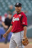 Nashville Sounds pitcher Wily Peralta #36 smiles during the Pacific Coast League baseball game against the Round Rock Express on August 26th, 2012 at the Dell Diamond in Round Rock, Texas. The Sounds defeated the Express 11-5. (Andrew Woolley/Four Seam Images).
