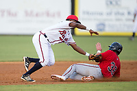 Danville Braves shortstop Nicholas Shumpert (1) applies the tag to Carson Crites (39) of the Elizabethton Twins as he tries to steal second base at American Legion Post 325 Field on July 1, 2017 in Danville, Virginia.  The Twins defeated the Braves 7-4.  (Brian Westerholt/Four Seam Images)