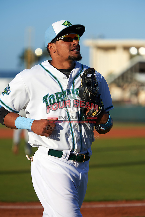 Daytona Tortugas center fielder Jonathan Reynoso (40) during a game against the Fort Myers Miracle on April 17, 2016 at Jackie Robinson Ballpark in Daytona, Florida.  Fort Myers defeated Daytona 9-0.  (Mike Janes/Four Seam Images)