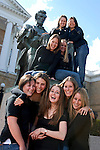 Nine soon-to-graduate college friends gather for a group portrait near the Abraham Lincoln statue on Bascom Hill at the University of Wisconsin-Madison on May 18, 2006.