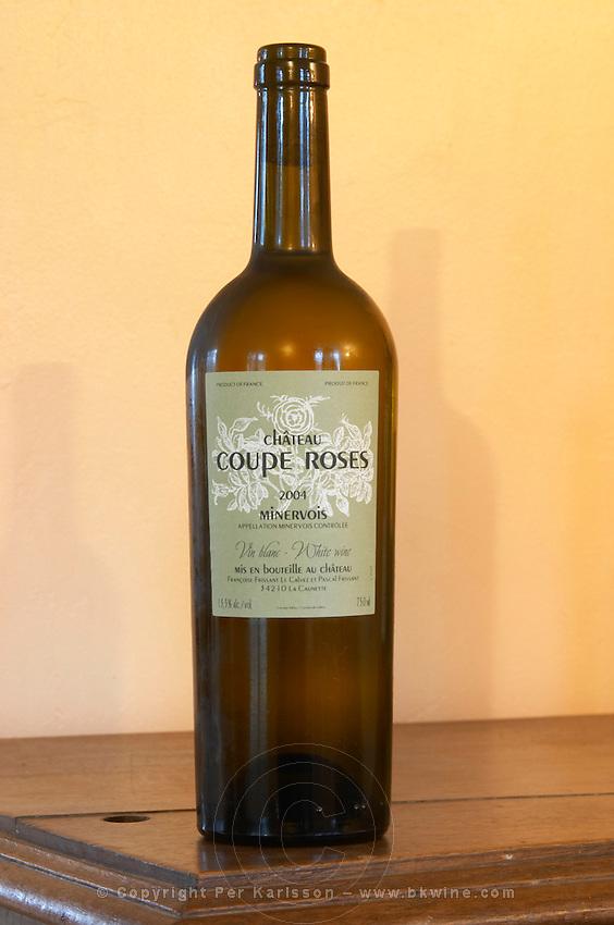 Chateau Coupe Roses, La Caunette. Blanc, white. Minervois. Languedoc. France. Europe. Bottle.