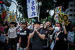 Tokyo, June 15 2012 - Protesters in front of Japan prime minister office against the restart of 2 reactors at Oi nuclear power plant.   The next day, on June 16 2012, Prime Minister Yoshihiko Noda will announce the first restart of reactors since the accident happened at Fukushima in March 2011. Former actor Taro Yamamoto speaking.