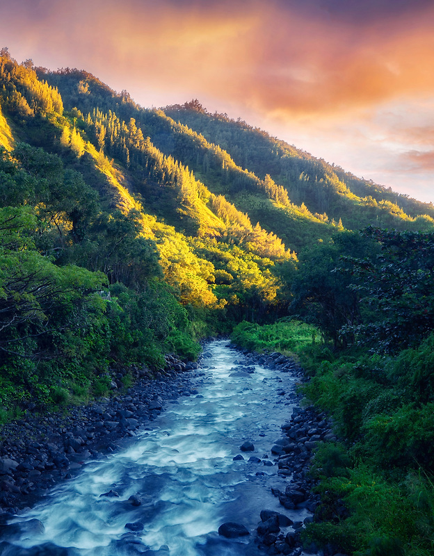 Iao Stream with first light of day. Mauai, Hawaii