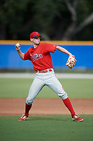 Philadelphia Phillies Jake Holmes (9) throws to first base during an Instructional League game against the Toronto Blue Jays on October 7, 2017 at the Englebert Complex in Dunedin, Florida.  (Mike Janes/Four Seam Images)