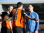 Dundee United v St Johnstone.....21.02.15<br /> Daved Mackay has words with Ryan McGowan after he took out Simon Lappin<br /> Picture by Graeme Hart.<br /> Copyright Perthshire Picture Agency<br /> Tel: 01738 623350  Mobile: 07990 594431