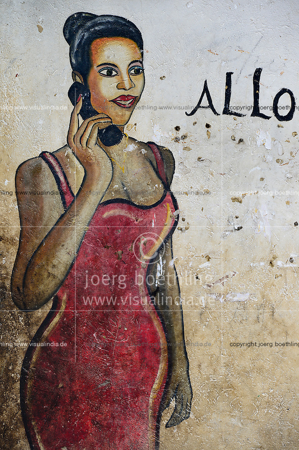 BURKINA FASO, Province Poni, Gaoua, wall painting as advertisement for phone shop / Wandmalerei als Reklame fuer Telefonladen