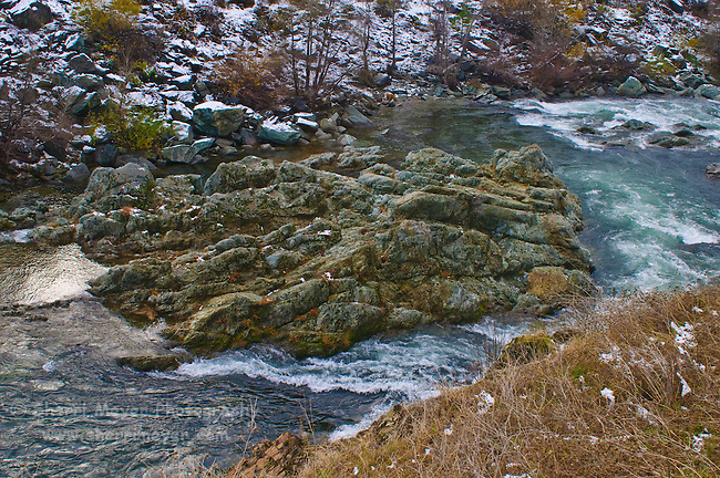 The Middle Fork of the American River, just after a rare, low snowfall, Auburn, California.