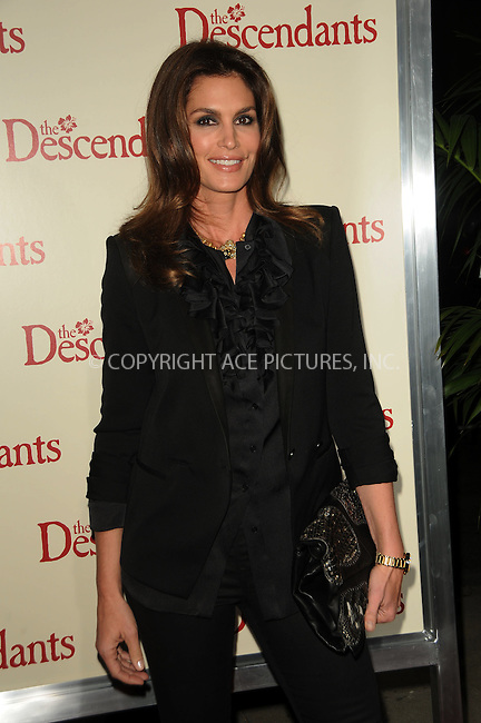 WWW.ACEPIXS.COM . . . . .  ....November 15 2011, LA....Cindy Crawford arriving at the premiere of 'The Descendants' at AMPAS Samuel Goldwyn Theater on November 15, 2011 in Beverly Hills, California.....Please byline: PETER WEST - ACE PICTURES.... *** ***..Ace Pictures, Inc:  ..Philip Vaughan (212) 243-8787 or (646) 679 0430..e-mail: info@acepixs.com..web: http://www.acepixs.com