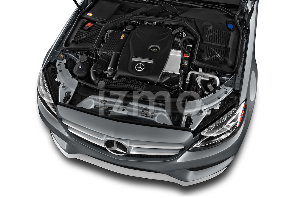 Car Stock 2015 Mercedes Benz C-Class C300 Sport 4 Door Sedan Engine high angle detail view