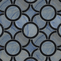 Montgomery Small, a stone water jet mosaic, shown in Nero Marquina and Blue Macauba, is part of the Ann Sacks Beau Monde collection sold exclusively at www.annsacks.com