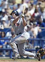 Shea Hillenbrand of the Boston Red Sox bats during a 2002 MLB season game against the Los Angeles Dodgers at Dodger Stadium, in Los Angeles, California. (Larry Goren/Four Seam Images)
