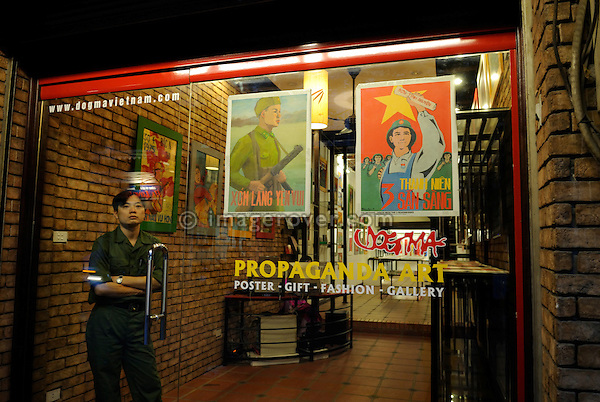 Asia, Vietnam, Hanoi. Hanoi old quarter. Propaganda Art shop.