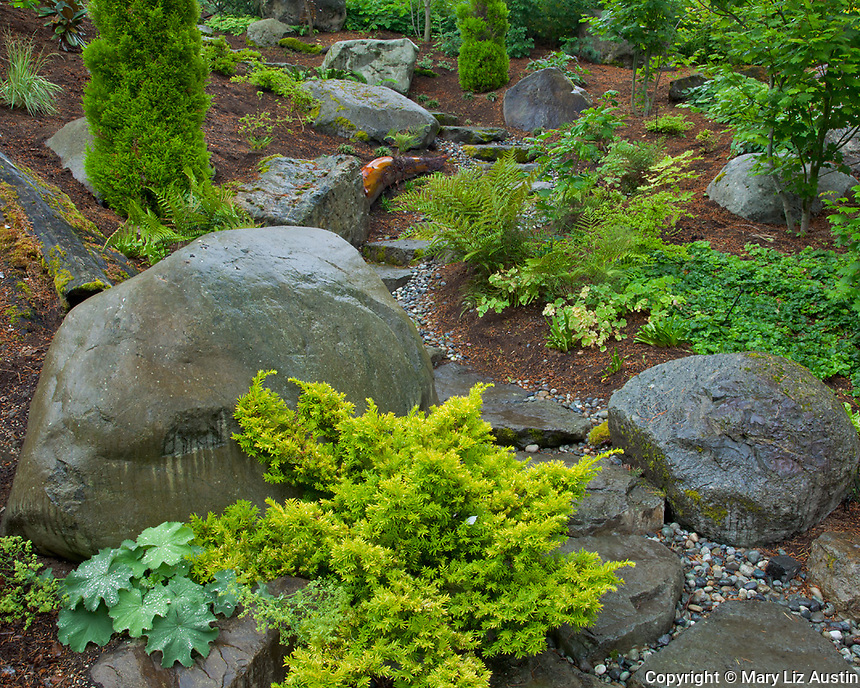 Vashon-Maury Island, WA<br /> Stone pathway through a summer perennial garden