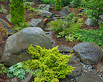 Vashon-Maury Island, WA<br /> Stone pathway through a summer perennial garden