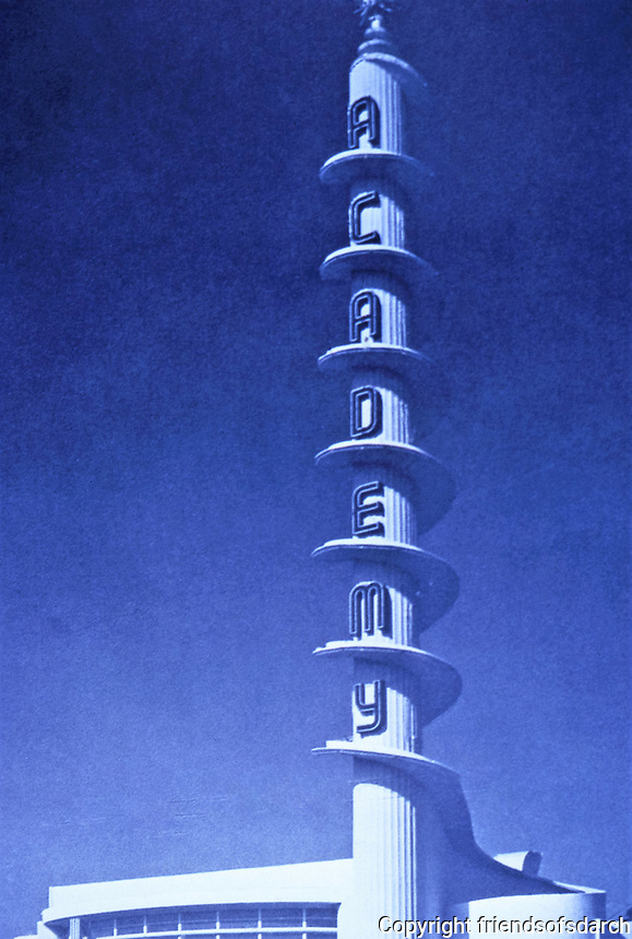 Academy Theater,  Los Angeles.   S. Charles Lee, Architect, 1939.  The UCLA  S. Charles Lee Archive notes that the inspiration for the tower was that of a spool of film unwinding.<br /> 3141 W. Manchester Blvd. Photo Dec. 1987.