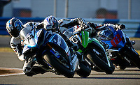 Bostjan Skubic (74) leads a pack of motorcyles during the AMA SuperBike motorcycle race at Daytona International Speedway, Daytona Beach, FL, March 2011.(Photo by Brian Cleary/www.bcpix.com)
