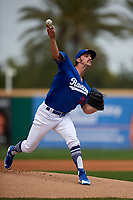 Rancho Cucamonga Quakes starting pitcher Tony Gonsolin (16) delivers a pitch during a California League game against the Lake Elsinore Storm at LoanMart Field on May 20, 2018 in Rancho Cucamonga, California. Rancho Cucamonga defeated Lake Elsinore 6-2. (Zachary Lucy/Four Seam Images)