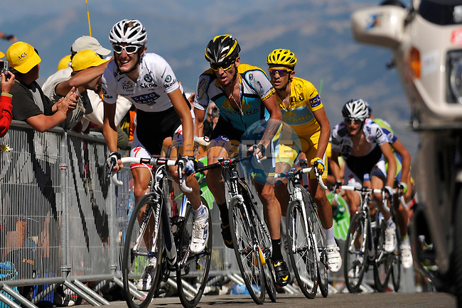 Andy Schleck (LUX) Saxo Bank leads Astana teammates Lance Armstrong (USA) and Alberto Cantador (ESP) near the finish of the penultimate stage to the Mont Ventoux in the 2009 Tour de France, 25th July 2009 (Photo by Eoin Clarke/NEWSFILE)
