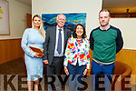 Beatrice O'Sullivan from Annagh Tralee celebrating her retirement from the HSE in the Ballyroe Heights Hotel on Friday evening.<br /> Elizabeth, Denis, Beatrice and Paul O'Sullivan.