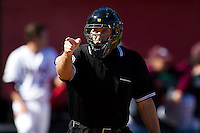 Home Plate Umpire Shane Friebe calls a strike during a game between the Southern Illinois University- Edwardsville Cougars and the Missouri State Bears at Hammons Field on March 10, 2012 in Springfield, Missouri. (David Welker / Four Seam Images)