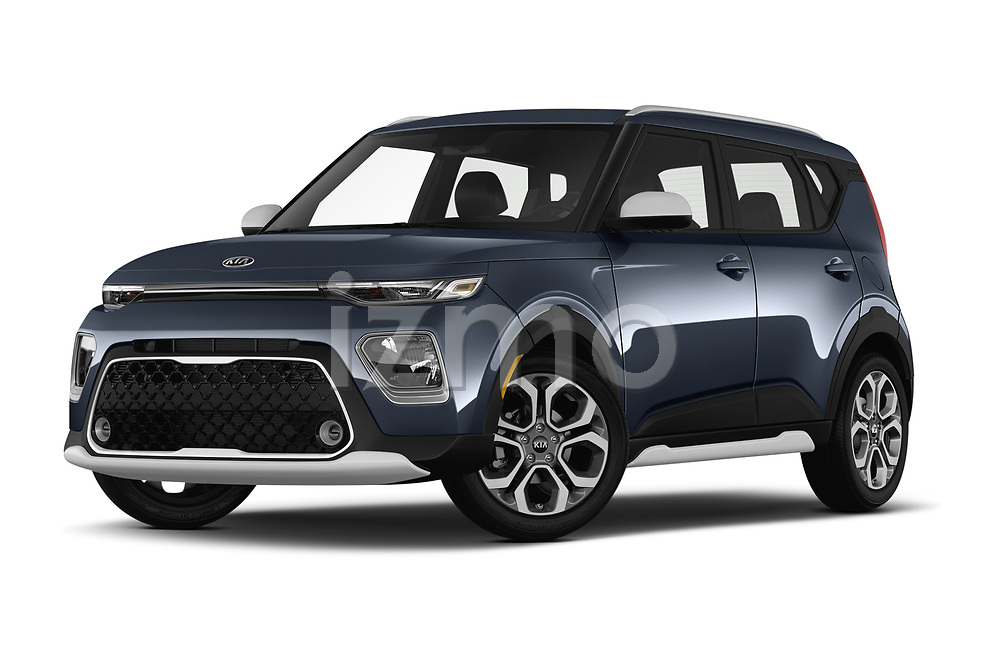 Stock pictures of low aggressive front three quarter view of a 2020 KIA Soul  X-Line 5 Door Hatchback