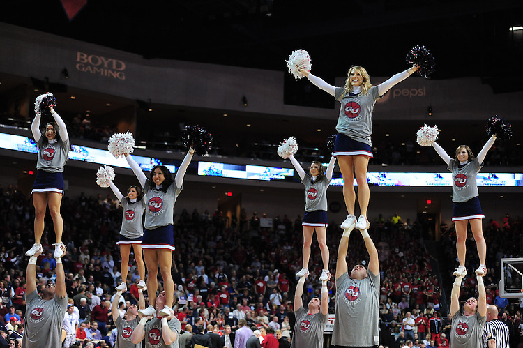 March 3, 2012; Las Vegas, NV, USA; Gonzaga Bulldogs cheerleaders perform against the BYU Cougars during the WCC Basketball Championships at Orleans Arena.